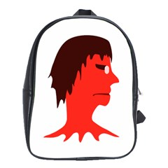 Monster with Men Head Illustration School Bag (Large) by dflcprints