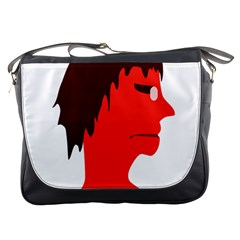Monster With Men Head Illustration Messenger Bag by dflcprints