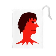 Monster With Men Head Illustration Drawstring Pouch (large) by dflcprints