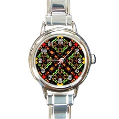 Intense Floral Refined Art Print Round Italian Charm Watch by dflcprints