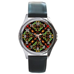 Intense Floral Refined Art Print Round Leather Watch (silver Rim) by dflcprints