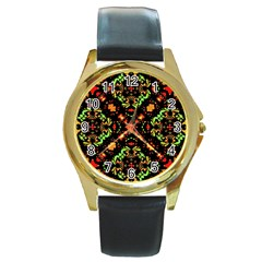 Intense Floral Refined Art Print Round Leather Watch (gold Rim)  by dflcprints