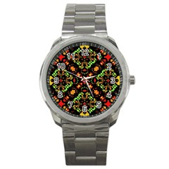 Intense Floral Refined Art Print Sport Metal Watch by dflcprints