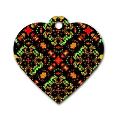 Intense Floral Refined Art Print Dog Tag Heart (two Sided) by dflcprints