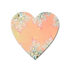 Peach Spring Frost On Flowers Fractal Magnet (heart) by Artist4God
