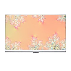 Peach Spring Frost On Flowers Fractal Business Card Holder by Artist4God