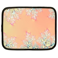 Peach Spring Frost On Flowers Fractal Netbook Sleeve (xxl) by Artist4God