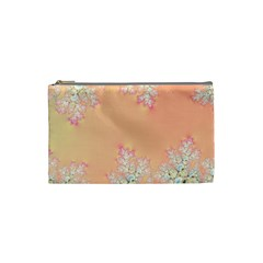 Peach Spring Frost On Flowers Fractal Cosmetic Bag (small) by Artist4God