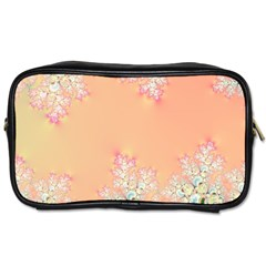 Peach Spring Frost On Flowers Fractal Travel Toiletry Bag (one Side) by Artist4God