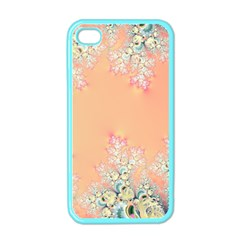 Peach Spring Frost On Flowers Fractal Apple Iphone 4 Case (color) by Artist4God