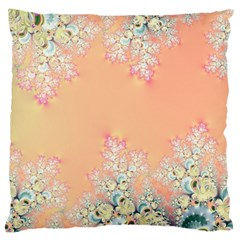 Peach Spring Frost On Flowers Fractal Large Cushion Case (two Sided)  by Artist4God