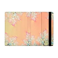 Peach Spring Frost On Flowers Fractal Apple Ipad Mini Flip Case by Artist4God