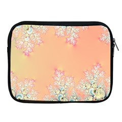 Peach Spring Frost On Flowers Fractal Apple Ipad Zippered Sleeve by Artist4God