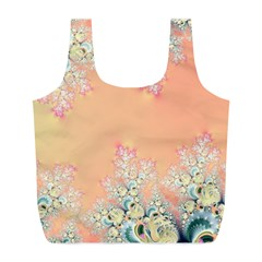 Peach Spring Frost On Flowers Fractal Reusable Bag (l) by Artist4God