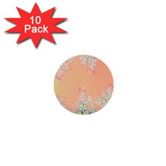 Peach Spring Frost On Flowers Fractal 1  Mini Button (10 Pack) by Artist4God