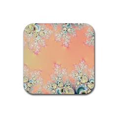 Peach Spring Frost On Flowers Fractal Drink Coaster (square)
