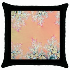 Peach Spring Frost On Flowers Fractal Black Throw Pillow Case by Artist4God