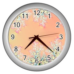 Peach Spring Frost On Flowers Fractal Wall Clock (silver) by Artist4God