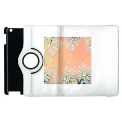 Peach Spring Frost On Flowers Fractal Apple Ipad 2 Flip 360 Case by Artist4God