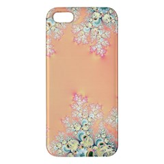 Peach Spring Frost On Flowers Fractal Apple Iphone 5 Premium Hardshell Case by Artist4God