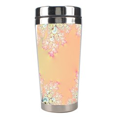 Peach Spring Frost On Flowers Fractal Stainless Steel Travel Tumbler by Artist4God
