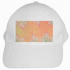 Peach Spring Frost On Flowers Fractal White Baseball Cap by Artist4God