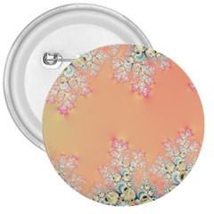 Peach Spring Frost On Flowers Fractal 3  Button by Artist4God