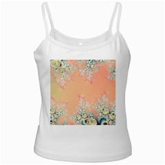 Peach Spring Frost On Flowers Fractal White Spaghetti Tank