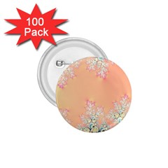 Peach Spring Frost On Flowers Fractal 1 75  Button (100 Pack) by Artist4God