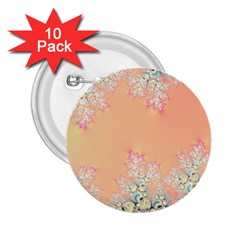 Peach Spring Frost On Flowers Fractal 2.25  Button (10 pack) by Artist4God