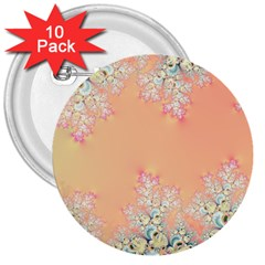 Peach Spring Frost On Flowers Fractal 3  Button (10 Pack) by Artist4God