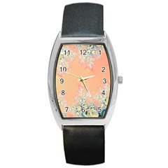 Peach Spring Frost On Flowers Fractal Tonneau Leather Watch by Artist4God