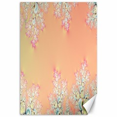 Peach Spring Frost On Flowers Fractal Canvas 12  X 18  (unframed) by Artist4God