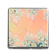 Peach Spring Frost On Flowers Fractal Memory Card Reader With Storage (square) by Artist4God