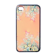 Peach Spring Frost On Flowers Fractal Apple Iphone 4 Case (black)