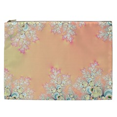 Peach Spring Frost On Flowers Fractal Cosmetic Bag (xxl) by Artist4God
