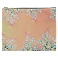 Peach Spring Frost On Flowers Fractal Cosmetic Bag (xxxl) by Artist4God