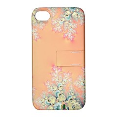 Peach Spring Frost On Flowers Fractal Apple Iphone 4/4s Hardshell Case With Stand by Artist4God
