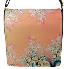 Peach Spring Frost On Flowers Fractal Flap Closure Messenger Bag (small)
