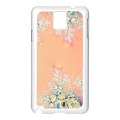 Peach Spring Frost On Flowers Fractal Samsung Galaxy Note 3 N9005 Case (white) by Artist4God