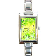 Sunny Spring Frost Fractal Rectangular Italian Charm Watch by Artist4God