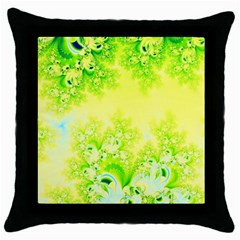 Sunny Spring Frost Fractal Black Throw Pillow Case by Artist4God