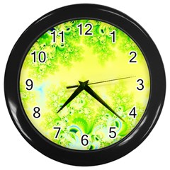 Sunny Spring Frost Fractal Wall Clock (black) by Artist4God