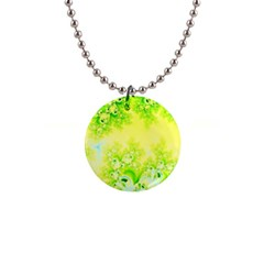 Sunny Spring Frost Fractal Button Necklace by Artist4God