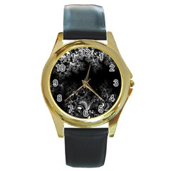 Midnight Frost Fractal Round Leather Watch (gold Rim)  by Artist4God
