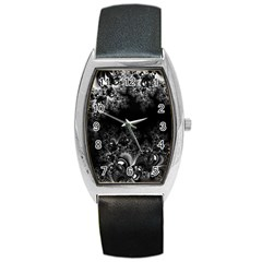 Midnight Frost Fractal Tonneau Leather Watch