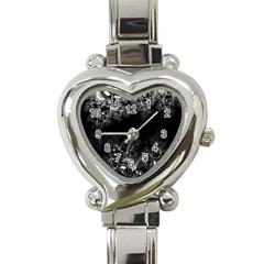 Midnight Frost Fractal Heart Italian Charm Watch  by Artist4God