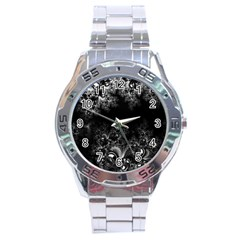 Midnight Frost Fractal Stainless Steel Watch by Artist4God