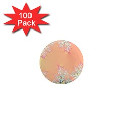 Peach Spring Frost On Flowers Fractal 1  Mini Button Magnet (100 Pack)