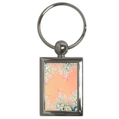Peach Spring Frost On Flowers Fractal Key Chain (rectangle) by Artist4God